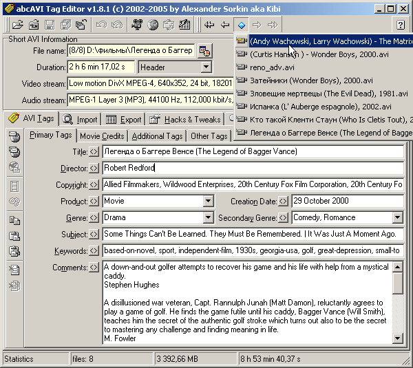 Click to view abcAVI Tag Editor 1.8.1.129 screenshot